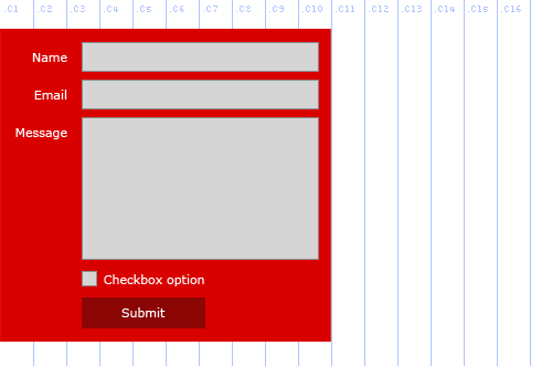 Forms API, Example 2, Red Background with labels on left