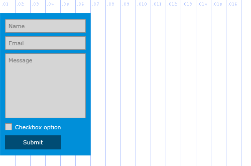 Forms API, Example 3, blue background with labels inset