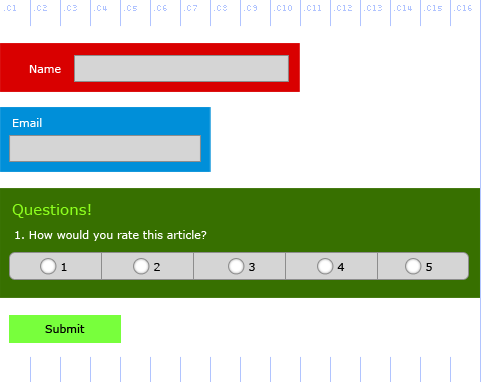 Forms API, example 5, showing different options