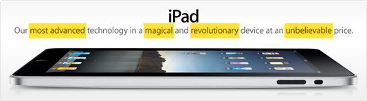 iPad Advertisement (Superlatives Highlighted)