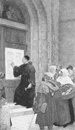 Luther nailing his theses to the church door